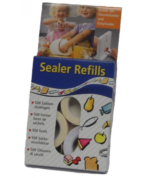 REFILLS FOR NOVEMSEALER AND EASYSEALER  (5 BOXES OF 500, TOTALING 2500 SEALS)