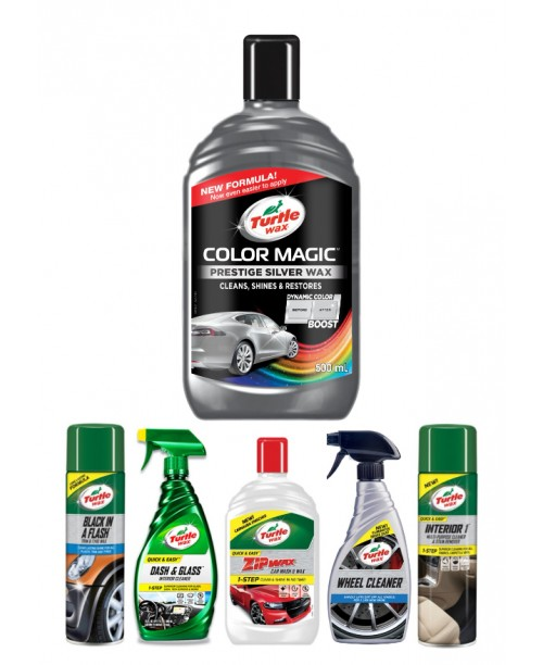TURTLE WAX COLOR MAGIC PRESTIGE SILVER WAX CAR CARE KIT