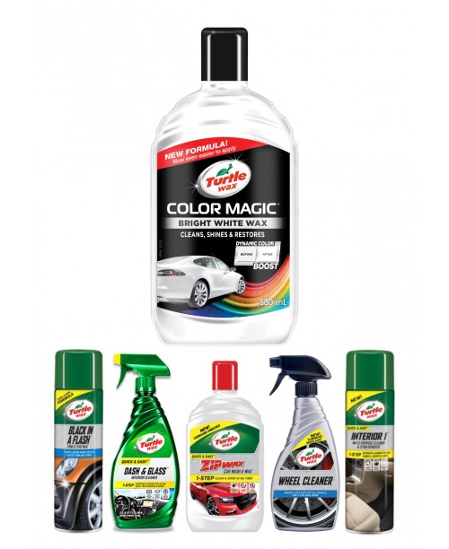 TURTLE WAX COLOR MAGIC BRIGHT WHITE WAX CAR CARE KIT
